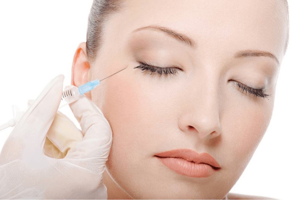A woman receiving anti-wrinkle injections.